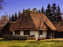 Cottage / chata :) (raphic :)) Tags: wood sky museum wooden village open air cottage straw poland polska panasonic skansen dmc thatched chata lublin niebo soma wioska drewniany raphic fz8