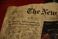 For McCain, Self-Confidence on Ethics Poses Its Own Risk (Steve Rhodes) Tags: newspaper election media politics newspapers headlines scandal campaign frontpage journalism controversy imes