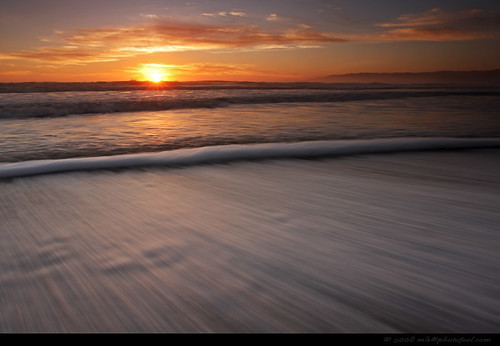 sunset beach seascape tide surf motion movement santabarbara california  photofool