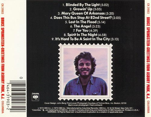 Bruce Springsteen - Greetings From Asbury Park (1973) - back cover