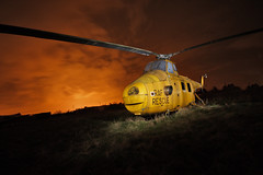 RAF Rescue - Fire Sky (Andrew Goldstraw) Tags: old england urban rescue orange yellow museum night long flash andrew helicopter planes disused rusting damaged exploration warwickshire raf marston airfield raceway shakespear whirlwind strobist rotars har10 xp346 goldeeno andrewgoldstraw agoldstraw