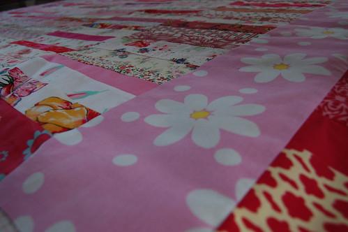 Pink quilt top