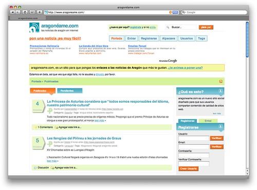 Captura de pantalla de la página principal de aragoneame.com