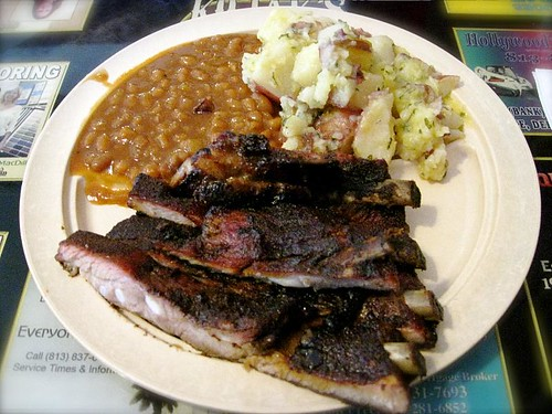 Kojak's ribs, baked beans and boiled parsley potatoes...heaven on a plate!