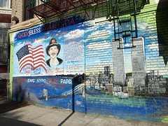 Firemen & Police Officers 9/11 Memory Mural in Mott Haven, South Bronx NYC (jag9889) Tags: world street 2001 city nyc bridge blue ny newyork art brooklyn river puente graffiti mural crossing bronx south 911 bridges nypd center 11 september ponte east memory pont heroes brücke 2008 trade ems fdny emt lawenforcement finest cru tats firstresponders papd not newyorkcitypolicedepartment y2008 jag9889