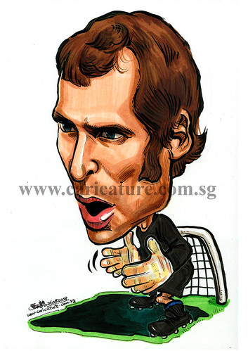 Caricature of Petr Cech colour watermark