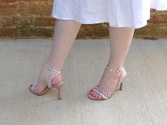 Colin Stuart Floral Gingham Sandals twist (PrincessPoochie) Tags: red feet floral shoes toes legs princess sandals gingham heels straps buckles poochie colinstuart shoedaydreams