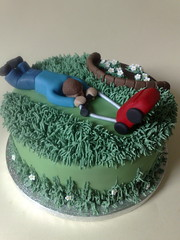Father's Day Garden Cake (SmallThingsIced) Tags: cake garden day mower fathers