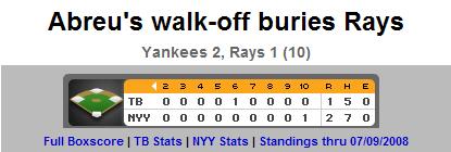 TB:NYY 7/9 Scoreboard