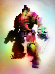 LEGO mecha 2.0 (Rhox.inK) Tags: sepia contrast writing photoshop vintage pose soldier design robot cg lego magenta ironman electro colourful clockwork arcobaleno droid acceso seppia androide contrasto pezzo maipulated bagliore ingranaggi droide