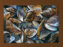 Mussels (gossamerpromise) Tags: food shells abstract art pencil ink drawing linen seafood mussels prismacolor coloredpencil