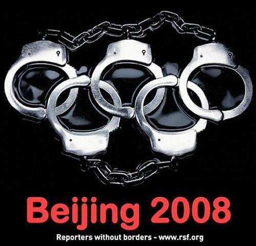 Reporters Without Borders / Reporters sans frontières Beijing Pekin Olympics Summer Games rings 2008