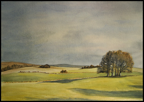 Malham trees, winter. Watercolour.