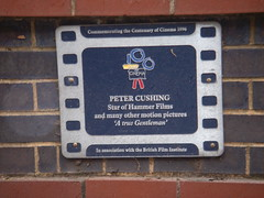 Photo of Peter Cushing film cell plaque