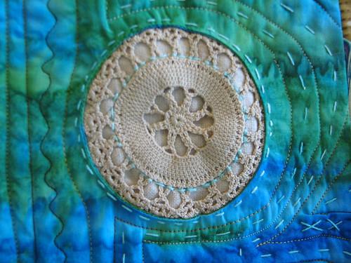 vintage crochet inside round window