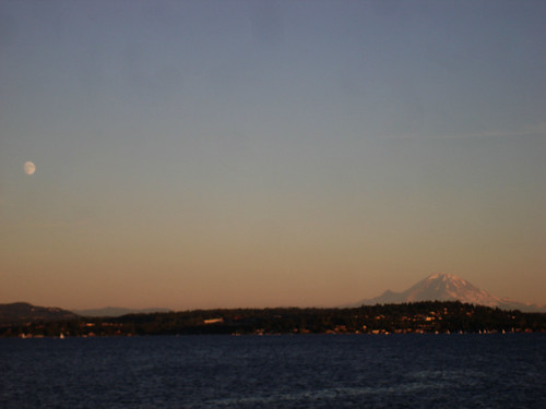 Moon and Mt Rainer