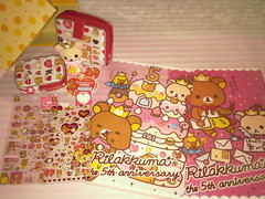 Birthday presents - from Mum and Brother (Starrylyn-K) Tags: sticker keychain box wallet gifts pouch sheet folder handphone received daiso rilakkuma korilakkuma kiroiitori seimoncho
