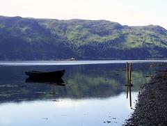 Green boat (fastbird61) Tags: summer boat spit shore mooring loch buoyant