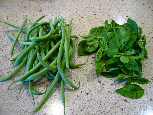 green beans and basil