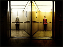 Where & (Cody Bralts) Tags: red two building girl sepia tile nikon elevator warmth