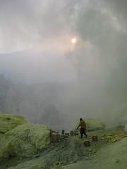 Kawah Ijen (ejba) Tags: lake rock indonesia volcano smoke gas crater sulphur worker ijen kawah