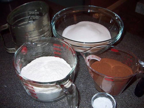 dry ingredients for chocolate batter
