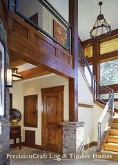 Entrance to a Custom Timber Frame Home | PrecisionCraft Timber Frame Homes (PrecisionCraft Log & Timber Homes) Tags: pictures california wood homes house mountain home design floor timber room great plan staircase frame custom architects luxury mammothca precisioncraft
