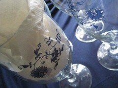 Blue and White Goblets (jenscloset) Tags: china pink flowers red bowl casserole plates noritake pyrex goblets blueandwhite fireking