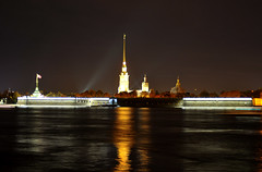 StPetersburg_Peter_and_Pauls_Fortress (Environmental Artist) Tags: lighting reflection nature st night river paul cathedral peaceful petersburg peter exotic serene pure fortress tranquil sustainability neva pristine mywinners
