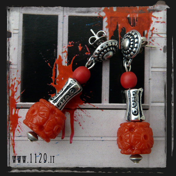 Orecchini rossi - Red carved coral earrings LECORA