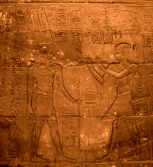 Amun-Re and Alexander the Great. (Inopos) () Tags: africa vacation holiday art writing temple ancient ruins king tour desert god northafrica 911 egypt pharaoh desierto publicart alexander september11 luxor ramadan rtw wallpainting gypten egitto vacanze hieroglyphs thebes wste roundtheworld ancientegypt afrique dsert  hieroglyph antiquities wallpaintings globetrotter greathouse northernafrica amunra luxortemple eastbank   alexanderthegreat templeofluxor  amunre worldtraveler upperegypt aluqsur  wallcarvings alexandrelegrand barqueshrine privatetour  qina  inopos     iptrsyt greekamun  thegreekamun desertumafricanum