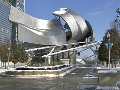 Chicago Gehry in Snow (slipgrove) Tags: winter snow chicago architecture downtown december gehry millenniumpark december17 slipgrove
