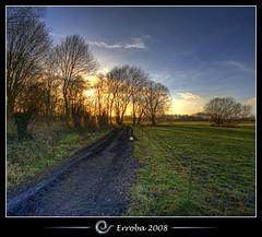 Sunset @ Het Broek, Mechelen, Belgium :: HDR :: Vertorama (Erroba) Tags: road trees sunset sky grass clouds photoshop canon fence rebel belgium belgique tripod belgi sigma tips remote bec 1020mm erlend hdr mechelen cs3 3xp photomatix tonemapped tonemapping xti 400d hetbroek erroba robaye erlendrobaye