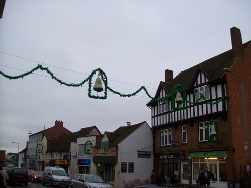 The town was decorated for Christmas