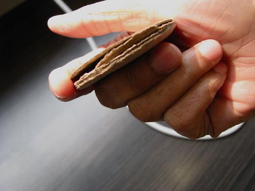 Cardboard cookies inside