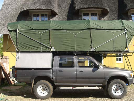 At home in England. & Home-made rooftents.