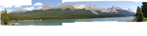 East shore of Maligne Lake, from the west shore.