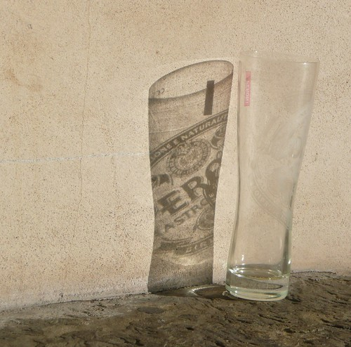 Photo: Beer glass reflection