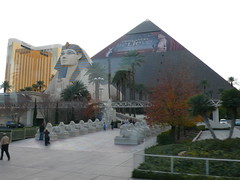 The Luxor sphinx and pyramid