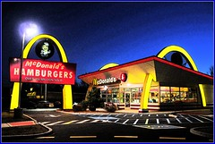 McDonalds Night Shot (Tony Fischer Photography) Tags: blue red food color art colors yellow night photoshop golden paint image fastfood arches mcdonalds cheeseburger fries snack hamburger in colorphotoaward frenchfriescokecoladrive