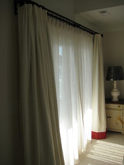 Ivory Linen with Coral Hem and Sheers
