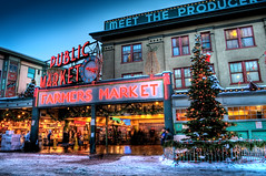 Seattle Pike Place Market At Christmas (Surrealize) Tags: seattle christmas fish snow tree clock public sign lights washington nikon neon farmers market dusk produce pikeplacemarket hdr flyingfish d700 surrealize