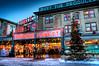 Seattle Pike Place Market At Christmas (Surrealize) Tags: seattle christmas fish snow tree clock public sign lights washington nikon neon farmers market dusk produce pikeplacemarket hdr flyingfish d700 surrealize