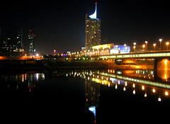 (ilonqua) Tags: wien bridge reflection tower geotagged cityscape upsidedown hanheld enlightedbridge ilonqua