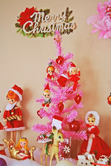Mantle about Christmas (boopsie.daisy) Tags: christmas pink decorations snow tree cute cookies japan vintage pose doll kitsch doe deer fawn presents faux merry pixies sleigh mantel