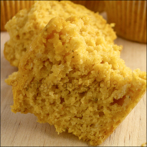 pumpkin corn muffin close-up