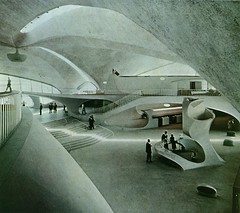 TWA terminal in NYC by Saarinen (ouno design) Tags: nyc favorite white newyork airport mod 60s thing things terminal round favourites 70s finnish curved seventies sixties saarinen twa eerosaarinen eero biomorphic ounodesign designfile