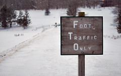 Foot Traffic Only (ginfox) Tags: wood trees winter white lake snow cold west sign forest foot virginia frozen traffic path wv valley only footsteps hillside cannan ginfox