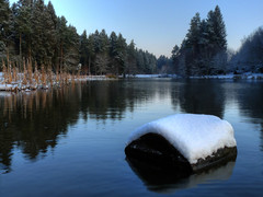 Mallards Pike (Chris Fairweather) Tags: uk panorama lake snow cold water robin forest day dean pike soe mallards rubyphotographer
