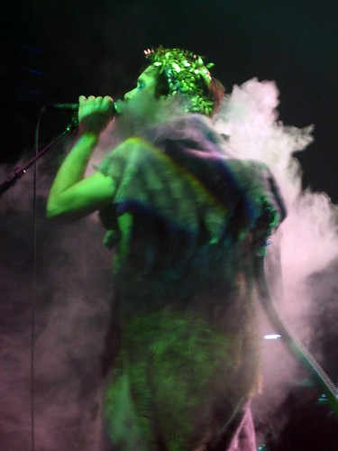 Kevin Barnes in a smoking fur suit.